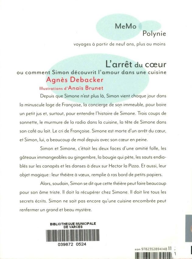 DEBACKER Agnès<br/>ARRÊT DU COEUR OU COMMENT SIMON DÉCOUVRIT L'AMOUR DANS UNE CUISINE (L')